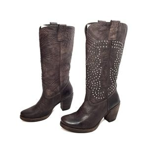 STEVEN by Steve Madden Brown Studded Leather Boots